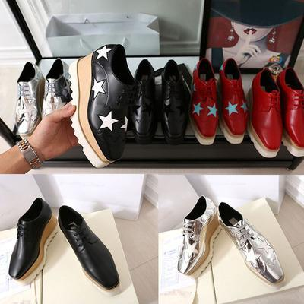 2019 Heißer Verkauf! Stella Mccartney Schuhe Top Qualität Echtes Leder Damenmode Plattform Keil Plattform Oxfords Boost Sneakers 44F3