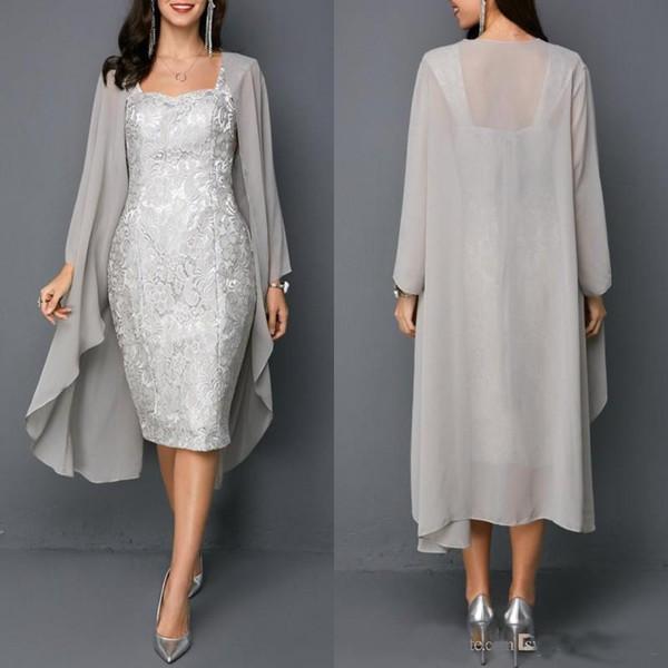 Neue graue Mutter der Braut Kleider mit langer Jacke Tee-Länge Abendkleider nach Maß Chiffon Hochzeitsgast Kleider
