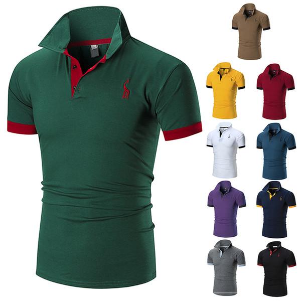 2019 Новое Лето Топ Тис Поло Мужчины Повседневная мужская Сплошной Цвет Профессиональный Дизайнер Футболка Мужская Поло Camisas Homens M-3XL