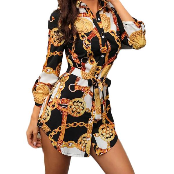 Nouveau Print Ladies Dress Sexy Discothèque Dentelle Robe Courte Bend Hem Chaîne Imprimer Ceinture Casual Shirt Variété En Option