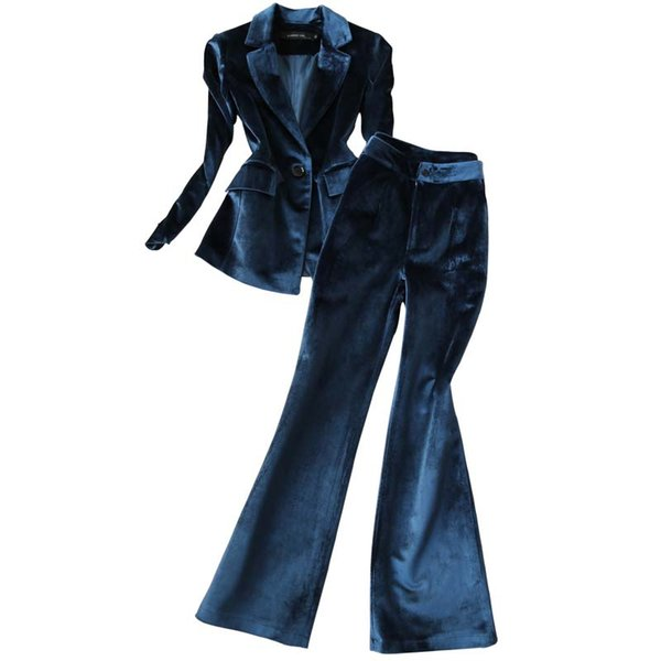 Fashion suit suit female early spring new Korean version of the self-cultivation velvet trumpet long pants two-piece
