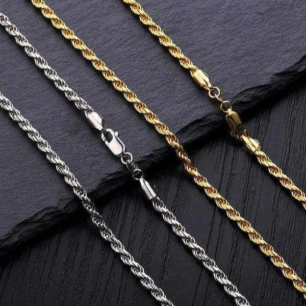 Collar de cadena de torsión de plata de ley 925 chapada en oro blanco de 18 quilates 3 mm 18