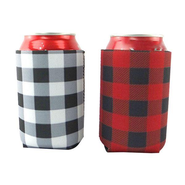 Rote Plaid Kühltasche Blanks Neopren Bier Tasse Hülse Abdecken Hochzeitsgeschenk Zinnverpackungen Küchenwerkzeuge WX9-1216