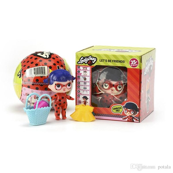 1PC Ladybug LiL Sisters Doll Series 6 girl Action Figures 10CM Big Ball Dolls Dress Up Baby Spray Water Dolls Toys for Kids Fun Carton boxes