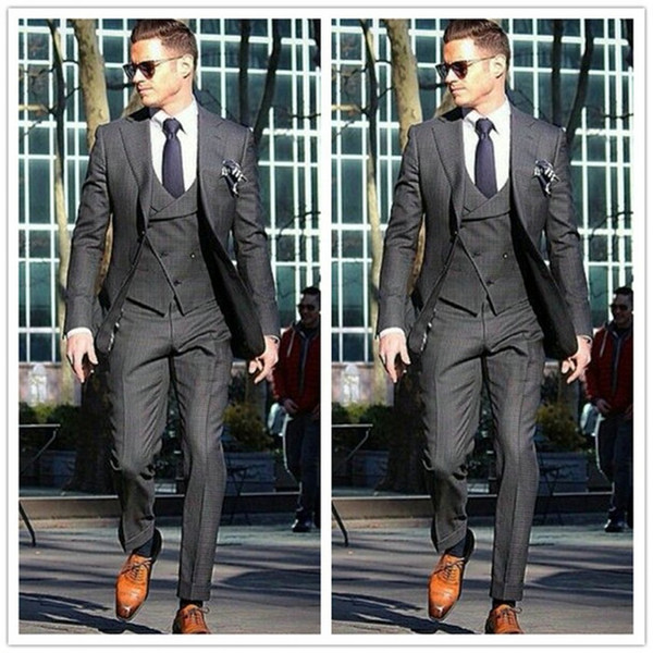 New Popular Grey Mens Wedding 3 Piece Suits Groom Groomsmen Tuxedos Man Blazers Jacket Custom Made men Dress (Jacket+Pants+Vest+Tie) 420