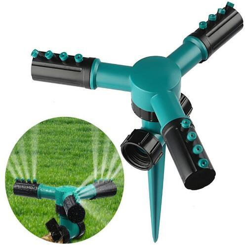 best selling Garden Greenhouse Three Arm Automatic 360 Degree Rotary Spray Head Garden Lawn Sprinkler Irrigation Watering Supplies 2018