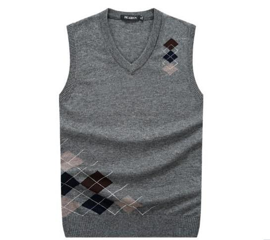 Promotion Classic Men's Argyle V-Neck Wool Sweater Vest Pullover Men Sleeveless Golf Knitting Vest Cozy Warm Quality Gaurantee