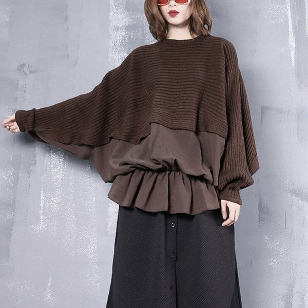 New Spring Round Neck Long Sleeve Black Loose Knitting Stitch Hem Ruffles Sweatshirt Women Fashion Tide JI7660