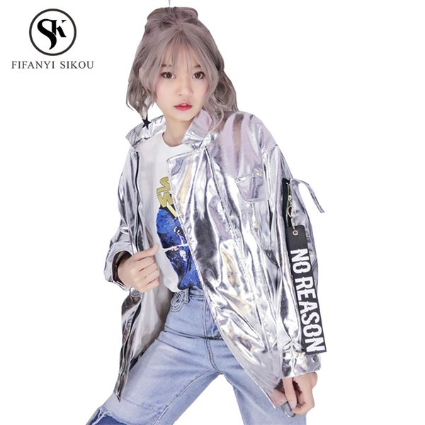 Fashion Hip hop PU Leather jacket women Bright silver Biker jacket Loose Plus size Streetwear Coats Female Bomber jackets womens