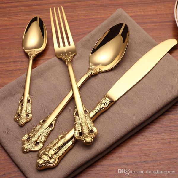 Marki Vintage Western Gold Plated Dinnerware Dinner Fork Knife Set Golden Cutlery Set Stainless Steel 4 Pcs Engraving Tableware wn584 20set