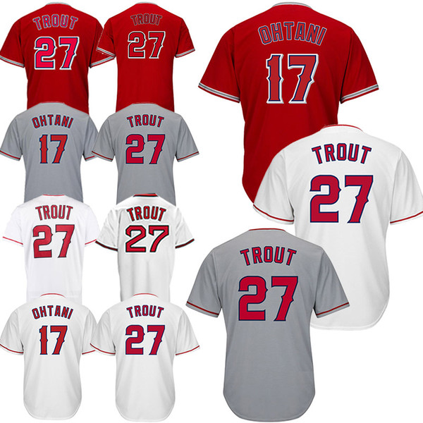 Camisas de beisebol Los Angeles Ange 27 Truta Mike 17 Ohtsi barato Camisas baratas Bordado requintado Camisa para adultos Respirável absorvente