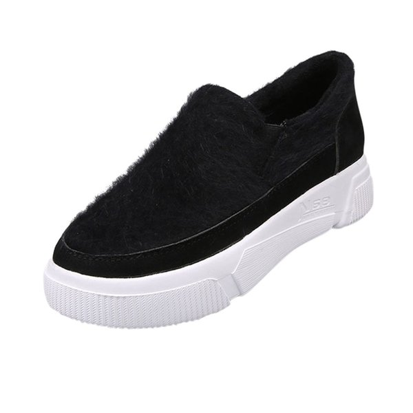Tecido running shoes 2019 mulheres faux fur moda respirável legal loafer preguiçoso deslizamento casual em sapatos dedo do pé redondo preto sneaker z30725