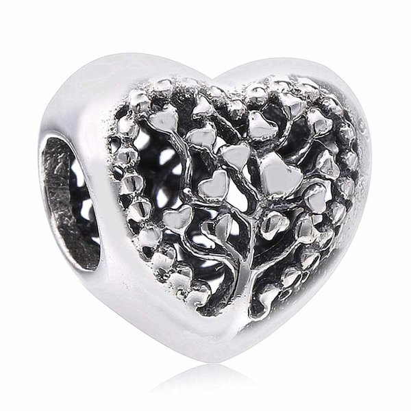 Novo 100% real prata esterlina 925 Openworl Florescente Love Hearts Tree Of Life encanto Beads Fit Mulheres presente Pandora Pulseira DIY jóias