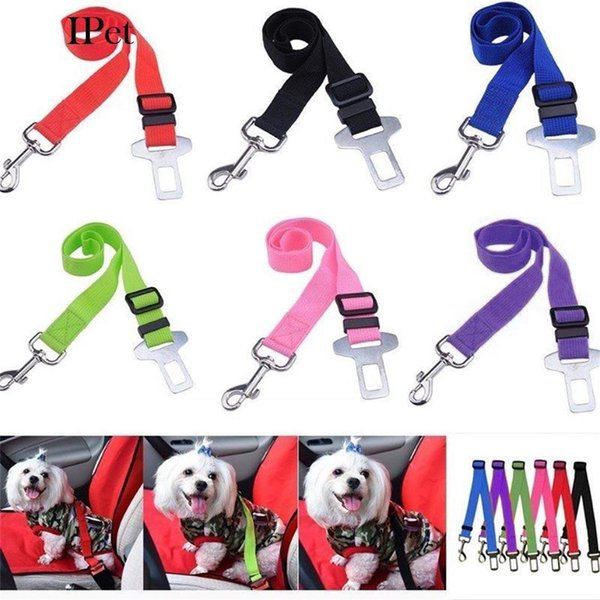 6 Colors Adjustable Vehicle Car Pet Dog Safety Seat Belt Pet Harness Restraint Lead Leash Clip Safety Supplies Accessories