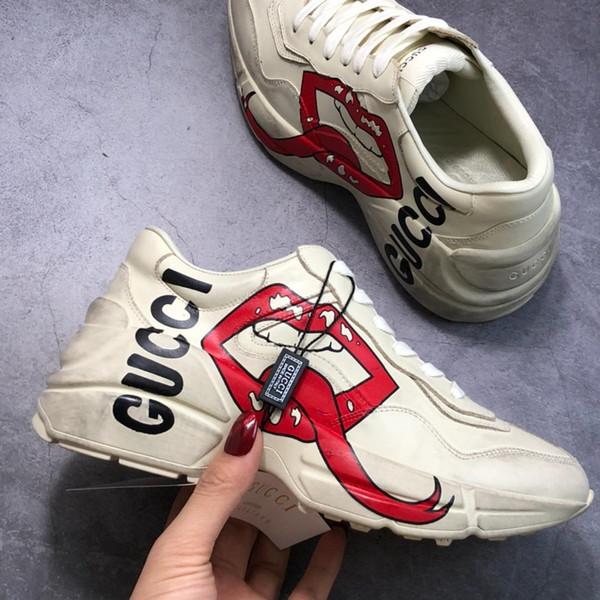 2019g Top qualité De luxe New 3D Imprimé logo personnalité motif, Femmes Épaisse semelle de sport chaussures Couple Chaussures Casual taille 35-44