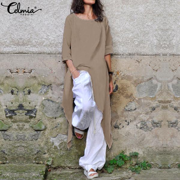 Celmia Plus Size Shirt Summer Loose Women Cotton Blouse Half Sleeve Casual Asymmetrical Tunic Tops Baggy Long Blusas Mujer S-5xl MX19070501