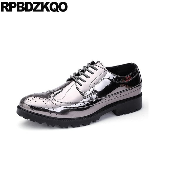 scarpe da uomo a punta punta con cerniera vernice impermeabile 11 scarpe argento party plus size vestito brogue 47 2018 appartamenti nuovi uomini