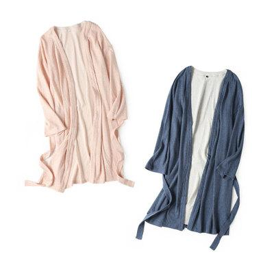 Full cotton knit double cloth bathrobe Couples Robe 2018 New Fashion Belt decor and 2 pocket Warm Slim Robe for lady and men