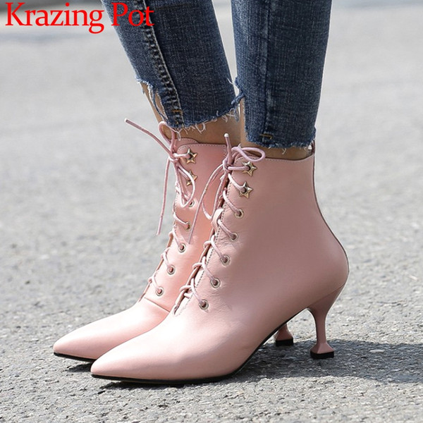 2019 british style pointed toe high strange heels zipper cow leather movie stars pretty girls bowtie oxford mid-calf boots L3f1