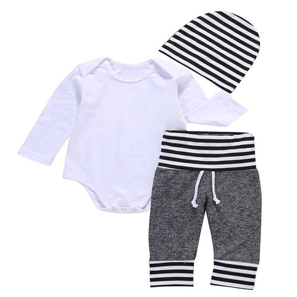 3PCS appena nato bambino bambini delle ragazze dei neonati fototecnica vestiti solido bianco del manicotto lungo della tuta Stripes pantaloni cappello casuale l'insieme dei vestiti
