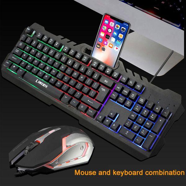 Oyunseverler için 3200 DPI Ayarlanabilir fare ile 2019 yeni Oyun Seti Kombinasyonları USB Kablolu LED aydınlatmalı Mekanik hissedin Oyun Klavyesi