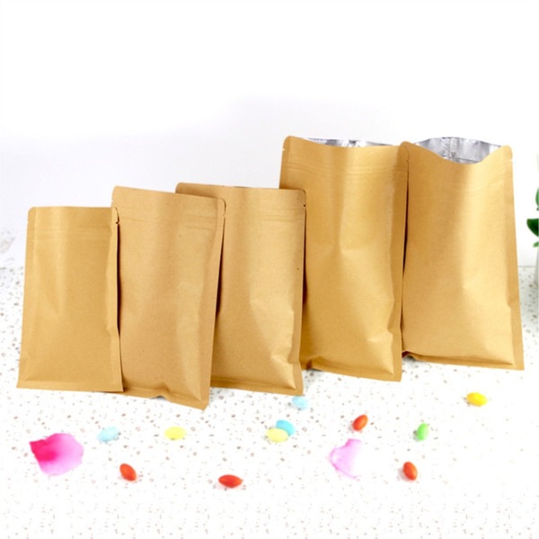 Packaging Bags Kraft Paper Aluminum Foil Self Seal Pack Pocket Heat Seal Package Pouch Flat Bottom Brown Kraft Take Out Bag