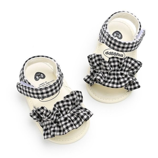 Infant Girls Shoes Summer Breathable Anti-Slip Bow Shoes Sandals Toddler Soft Soled