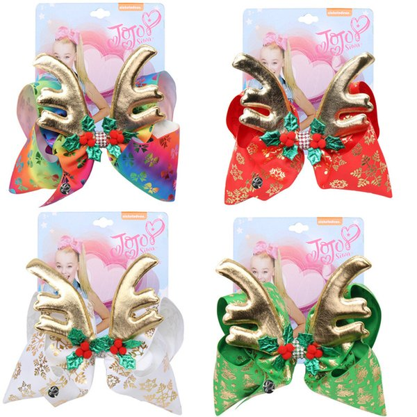 Christmas jojo siwa Hair Bows 6.7inch Children's Big Bow Christmas staghorn bow hair pins warped with drill girl Bow Hairpin4 colors