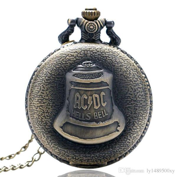 Vintage Bronze ACDC Hells Bell Quartz Pocket Watch Chain Necklace Men Women Souvenir Gifts Casual Fashion Pendant Clock Relojes de bolsillo
