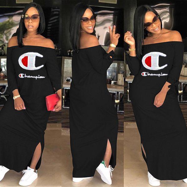 Champions Frauen Casual Kleider heiße Verkäufe stilvolle Sommerkleid aus Schulter Mantel / Spalte Cap Sleeve bodenlangen Druck Split plus Größe