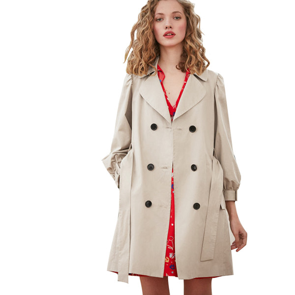 Khaki long sleeve notched collar trench coats women ladies spring elegant OL balloon sleeve belted double breasted outwear tops