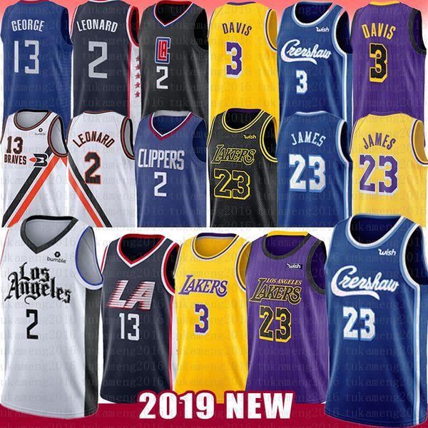 Kawhi NCAA 2 Leonard Jersey 6 LeBron James Anthony Davis 23 13 Paul George 2019 del nuevo Mens del bordado de la Universidad jerseys del baloncesto