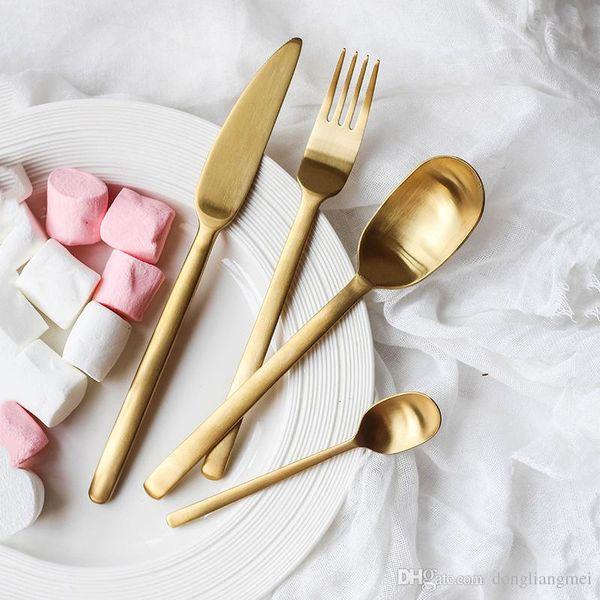 Dinnerware Set top Quality 304 Aço Inoxidável Faca Jantar Garfo e sopa de café sorvete Colher de Chá Colher Conjuntos Talheres talheres wn701D