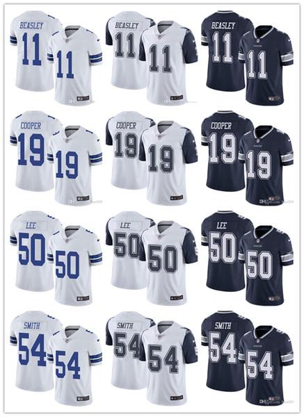 Hombres Mujeres Jóvenes Dallas 19 Amari Cooper 11 Cole Beasley 54 Jaylon Smith 50 Sean Lee Navy White Custom Cowboys Camisetas de fútbol