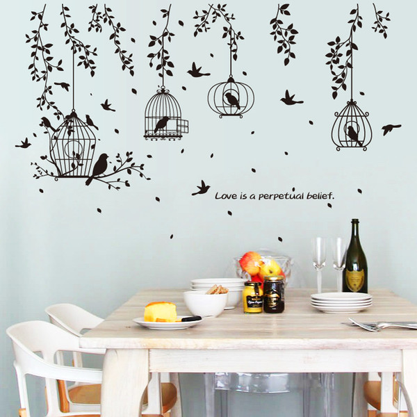 Black Birdcage Leaves Silhouette Wall Stickers Home Decor Flying Birds Door Sticker Plants PVC Wallpaper Window Art Mural Poster