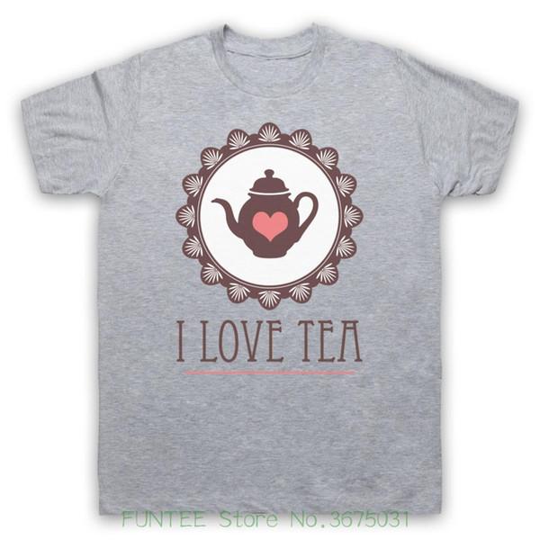 Печать футболки Я люблю чай лозунг британский знаковых напиток любитель прохладный смешные мужские дети футболки