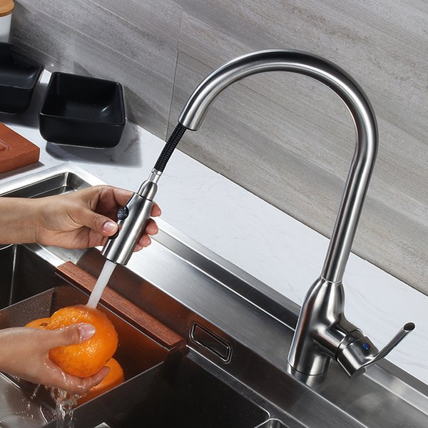 Pull Out KitchenTaps Deck Mounted 304SUS Kitchen Sink Faucets Hot Cold Mixer Brushed Water Tap Single Handle