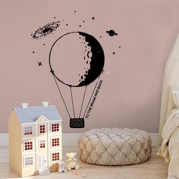 DIY Çıkarılabilir Yaratıcı Ay Duvar Çıkartmaları Kreş Çocuk Oturma Odası Yatak Odası Duvar Duvar Çıkartmaları Vinil Sanat Ev D ...