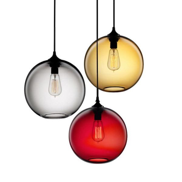 Vintage Industrial Pendant Lights Metal Pendant Ceiling Lamp 6 Color Glass Ball Hanglamp Kitchen Restaurant Lights Fixtures