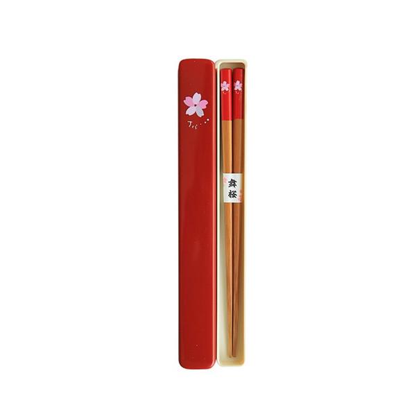 Tableware Portable Chopsticks Durable Reusable Cherry Print Environmental Wooden Travel Use