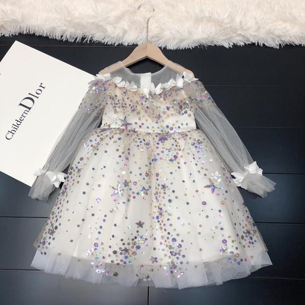 Vestido de las muchachas del vestido de noche de las muchachas cómodas diseñador de ropa nueva 2019 del hombro del hilado del acoplamiento princesa de manga larga tela del vestido de los niños