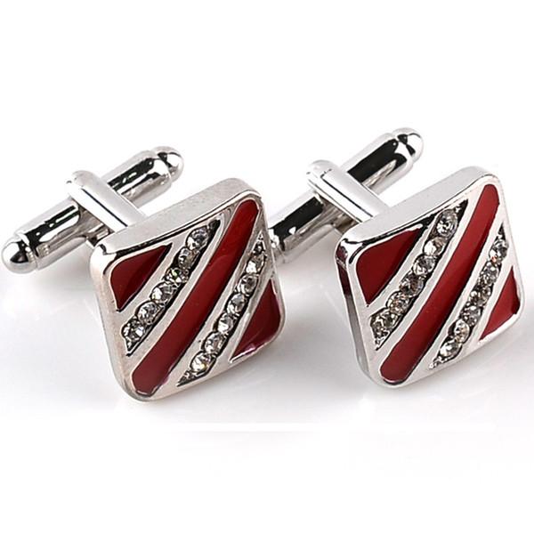 Erkekler Için yeni Trendy Erkek Gömlek Kol Düğmeleri Düğün Marka Manşet Düğmesi Kırmızı Siyah Fransız Kol Düğmeleri Yüksek Kalite İş Abotoaduras