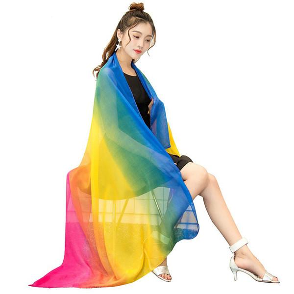 Fashion Woman Long Rainbow Gradient Silk Scarf Summer Spring Sunscreen Shawl Sexy Beach Bikini Shawl Swimwear Cover Ups Scarf