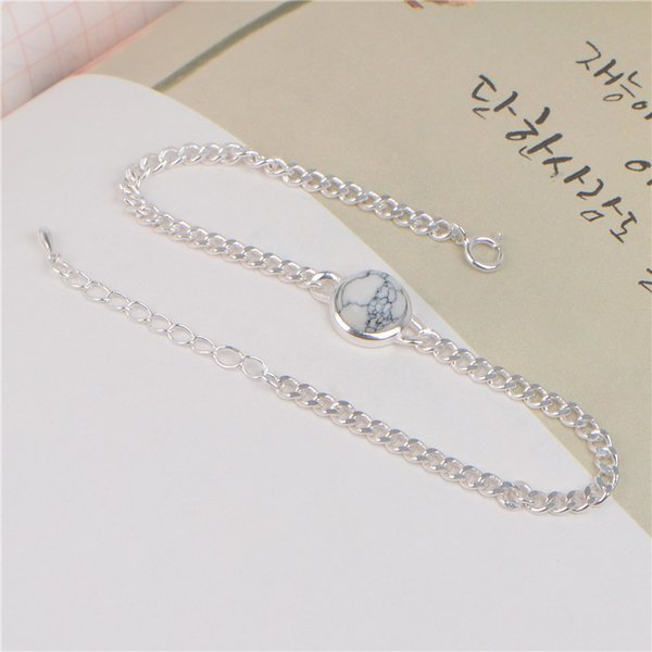 S925 Silver White Pine Round Round Bracelet New Marble Bracelet Women Can Adjust Classical Fashion