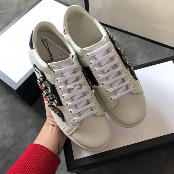 Trump de zapatos de diseñador 2018, bordado de lujo serpiente + taladro de diamante zapatos casuales, zapatillas de deporte de diseñador de cuero, calzados informales para damas talla 35-41