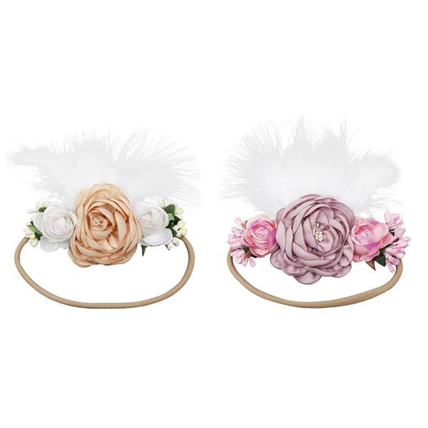 Baby Girls Feather Headbands with Artificial flower Childrens Kids Ostrich Feather Flower Nylon Hairbands Girls Hair Accessories