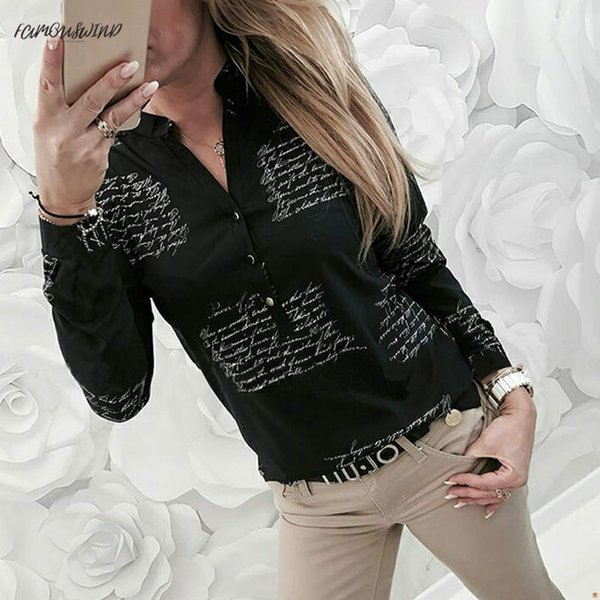 Блузка женская рубашка с V-образным вырезом для печати пуговиц с длинным рукавом Блузка женская одежда Femme # Xt Chemise