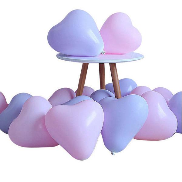 100 stücke / 10 zoll Macaron Ballon Hochzeit Bunte Geburtstagsfeier Dekoration Liebe Herzförmige Aufblasbare Latexballons Party Decor Kinder Spielzeug