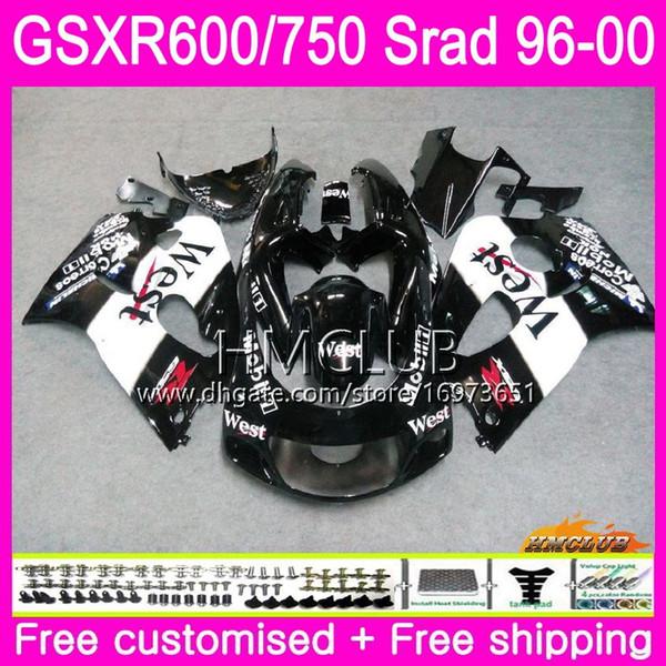 Body For SUZUKI SRAD GSXR 750 Black west 600 1996 1997 1998 1999 2000 Kit 1HM.12 GSX-R750 GSXR-600 GSXR750 GSXR600 96 97 98 99 00 Fairing