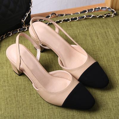 Kadınlar Tasarımcı Bej Siyah Iki Ton Deri Süet Slingback topuklu sandalet Loafer'lar Bayan sandalet Pompalar Boyutu 35-40